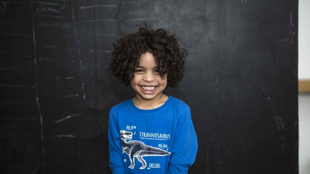 boy in blue T-shirt